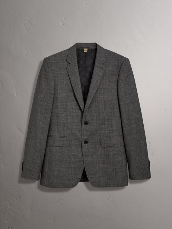 Slim Fit Wool Three-piece Suit in Dark Grey Melange - Men | Burberry Singapore - cell image 3