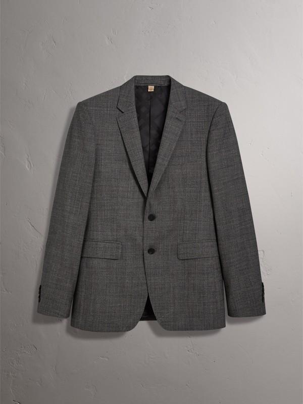 Slim Fit Wool Three-piece Suit in Dark Grey Melange - Men | Burberry - cell image 3