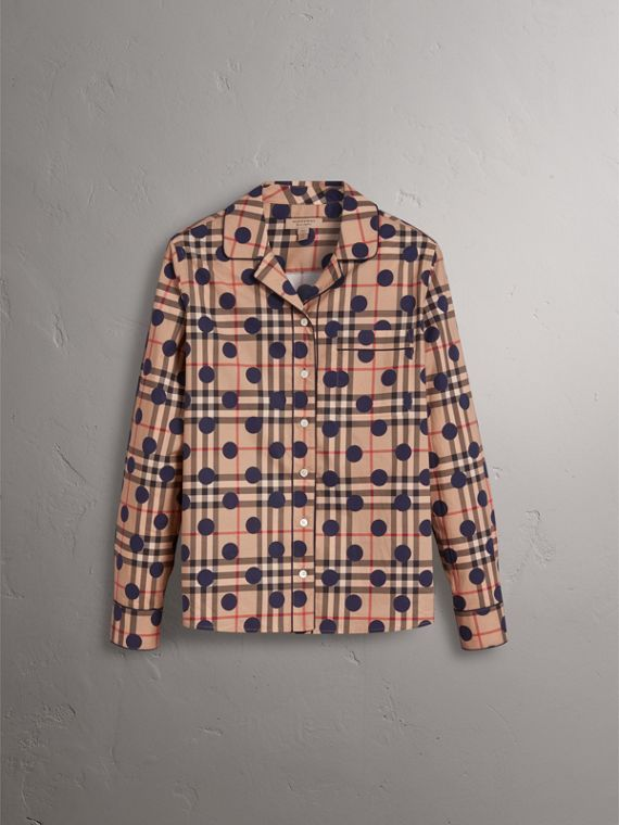 Polka-dot Check Cotton Pyjama-style Shirt in Navy - Women | Burberry - cell image 3