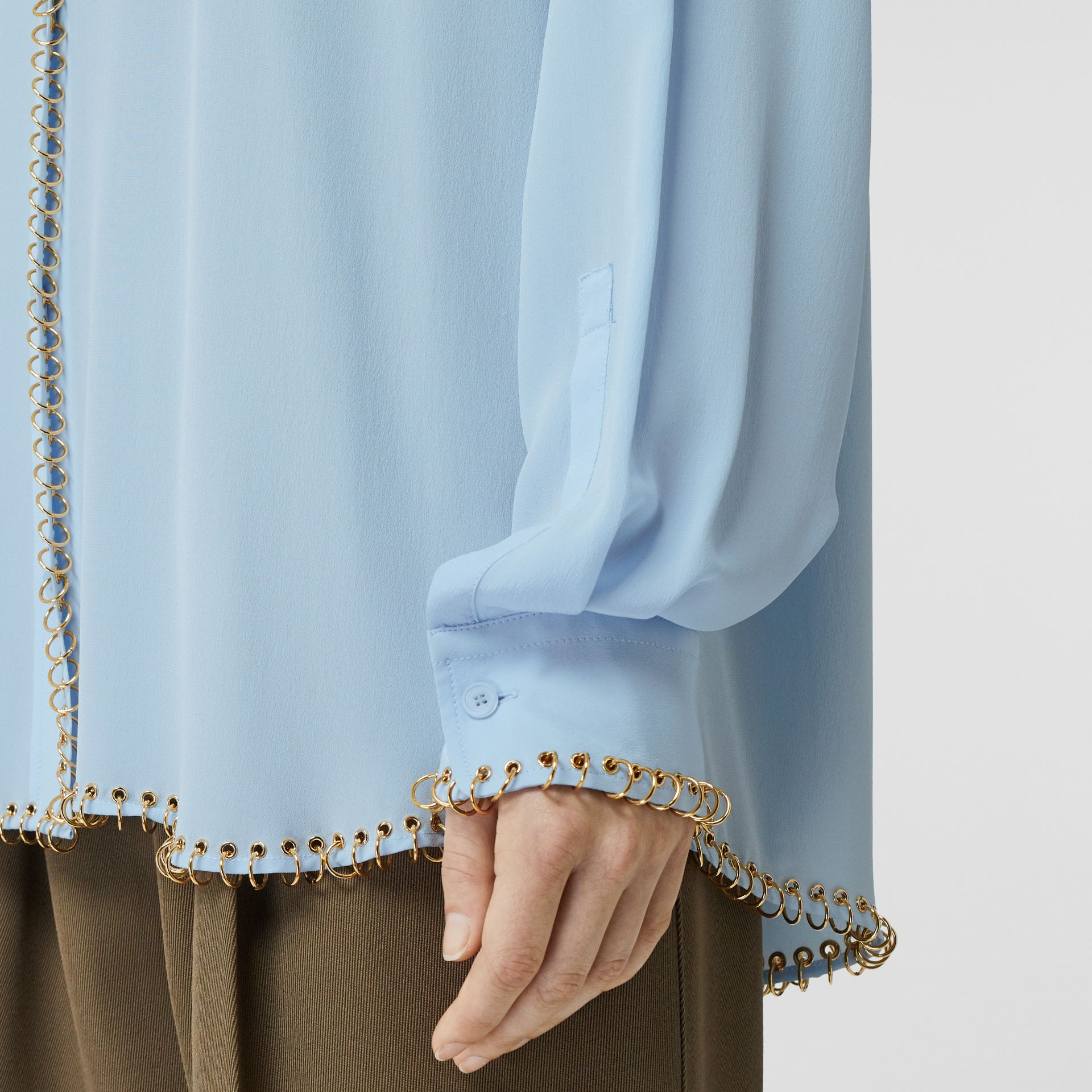 Ring-pierced Silk Crepe Shirt in Pale Blue - Women | Burberry - gallery image 4