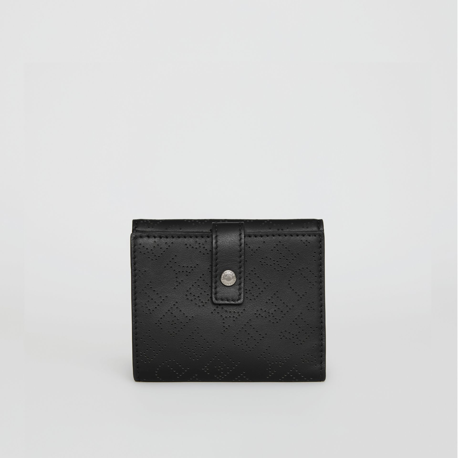 Small Perforated Logo Leather Wallet in Black - Women | Burberry Singapore - gallery image 4