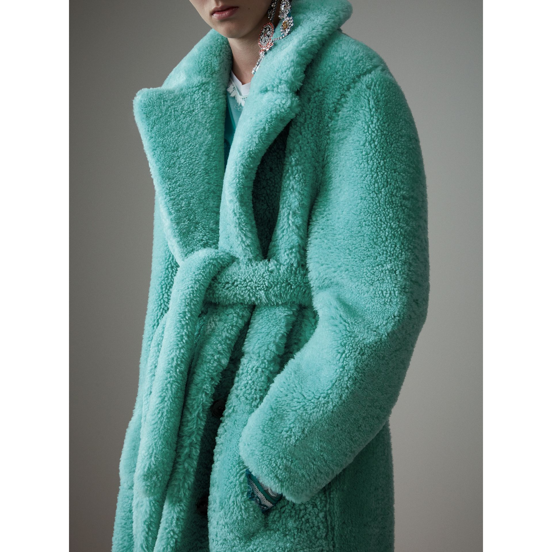 Shearling Oversized Coat in Turquoise - Women | Burberry United Kingdom - gallery image 2