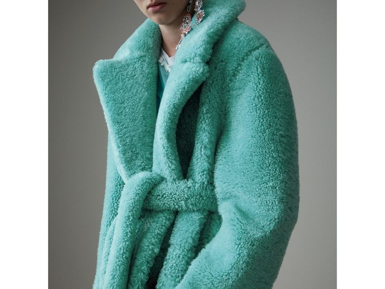 Shearling Oversized Coat in Turquoise - Women | Burberry - cell image 1
