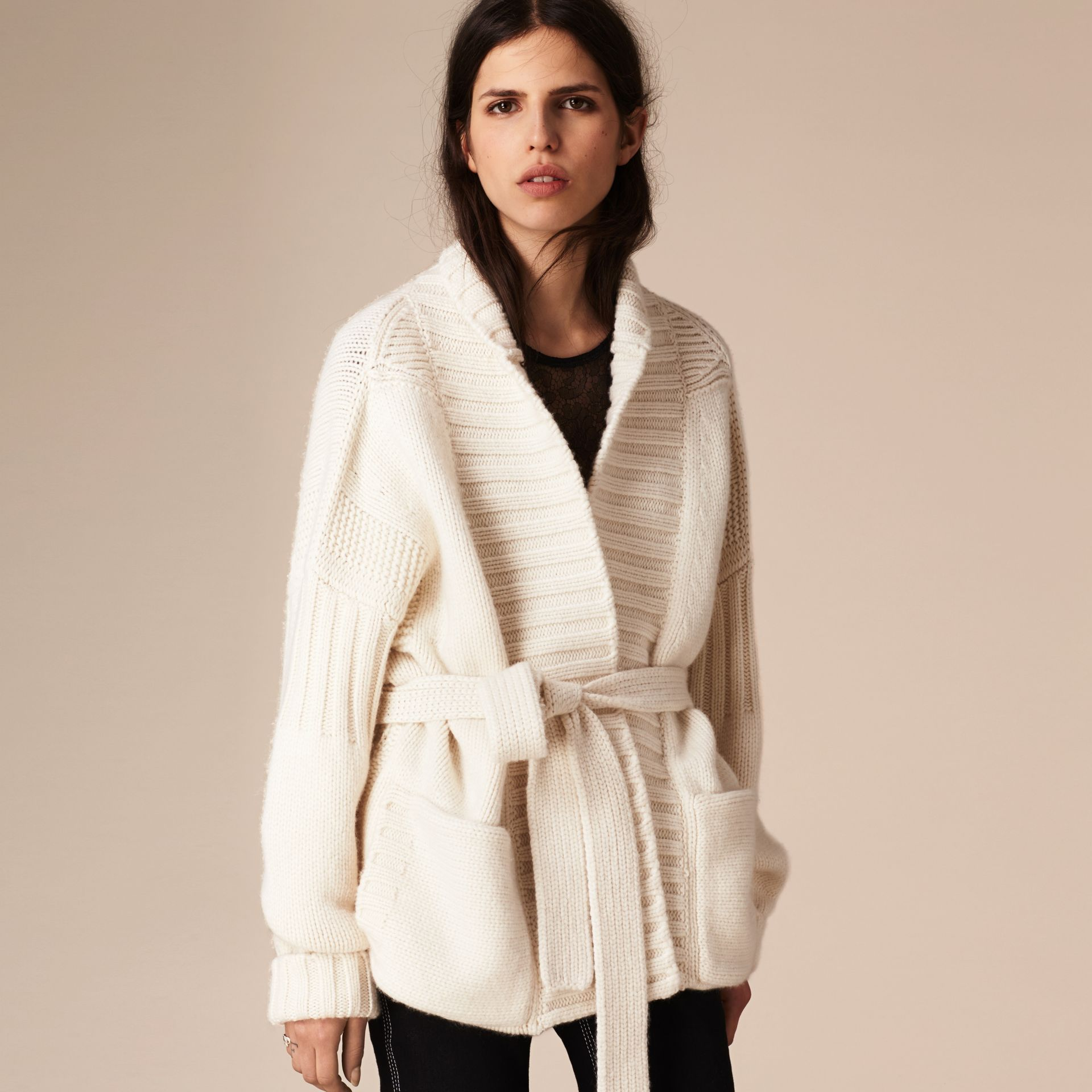 White Knitted Cashmere Belted Cardigan - gallery image 4