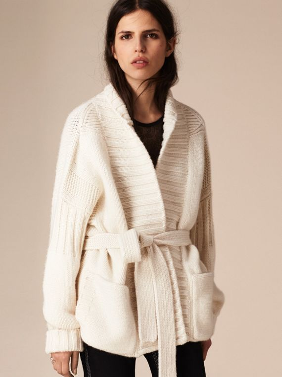 White Knitted Cashmere Belted Cardigan - cell image 3