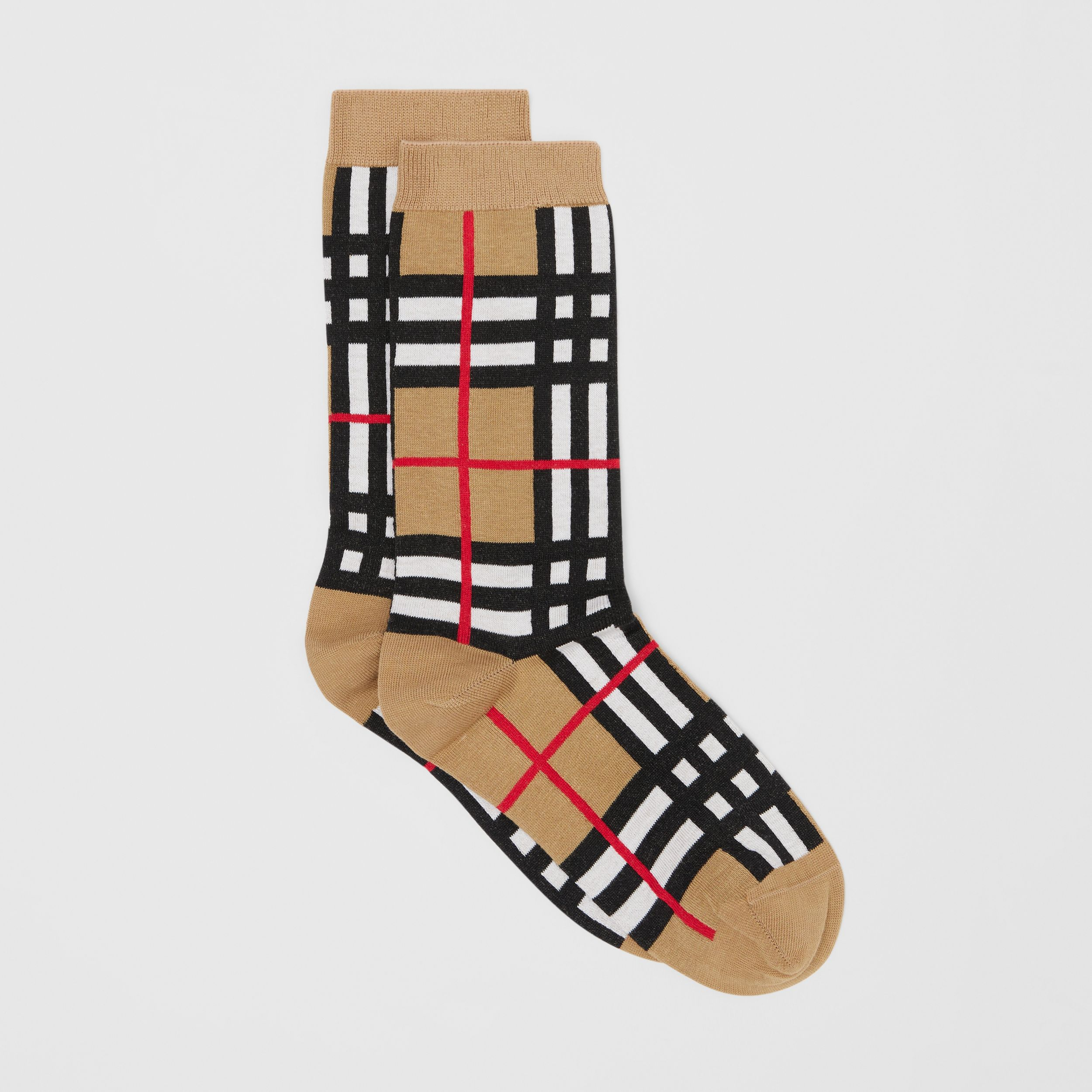 Check Intarsia Cotton Blend Socks in Archive Beige | Burberry United Kingdom - 3