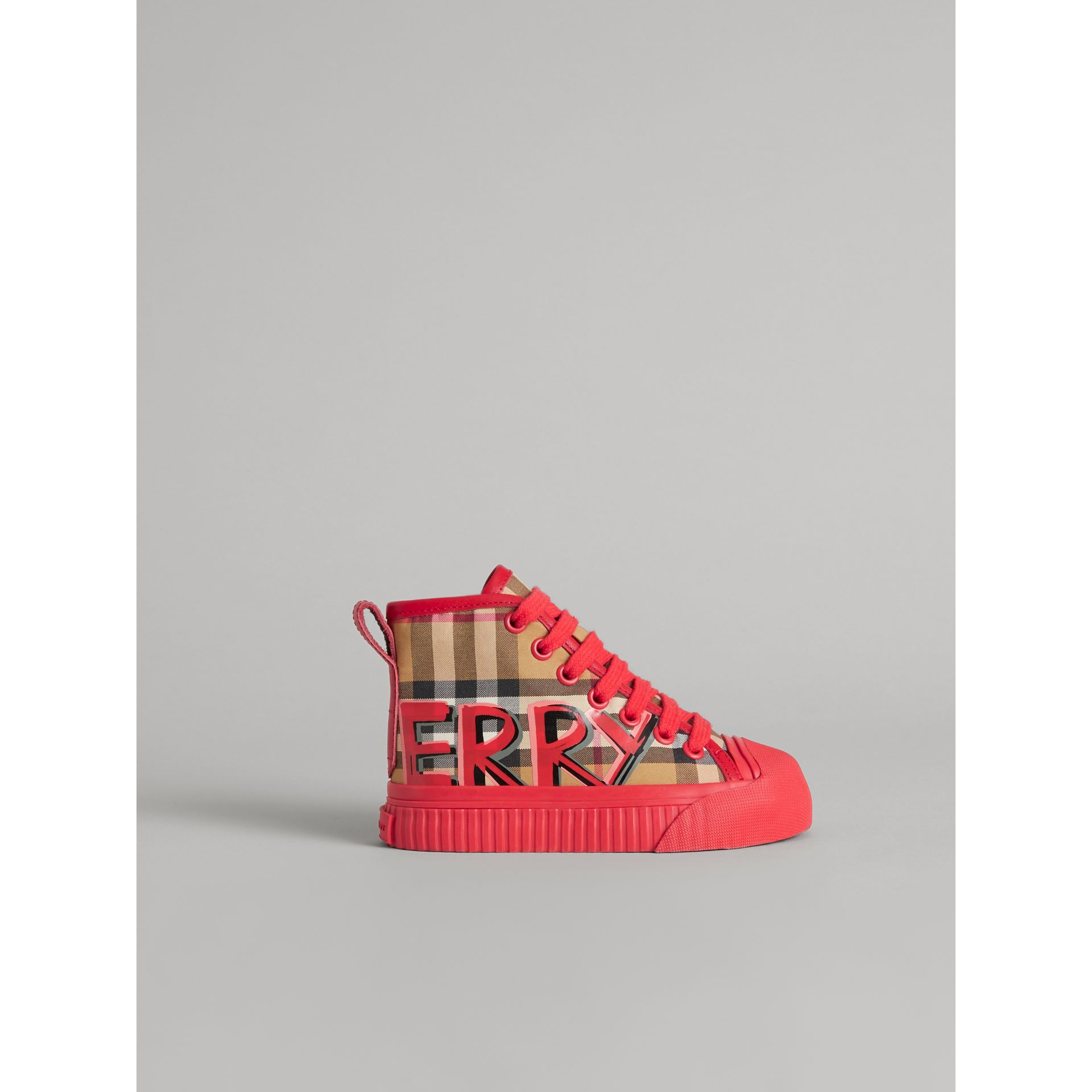 Graffiti Vintage Check High-top Sneakers in Bright Red | Burberry - gallery image 3