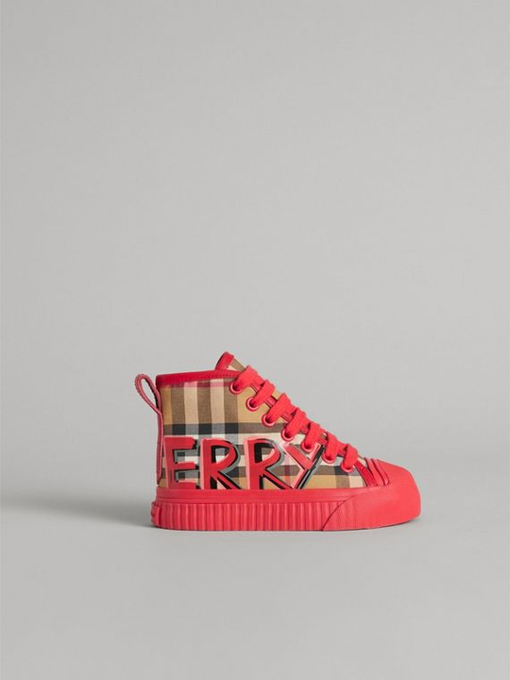 Graffiti Vintage Check High-top Sneakers in Bright Red | Burberry - cell image 3