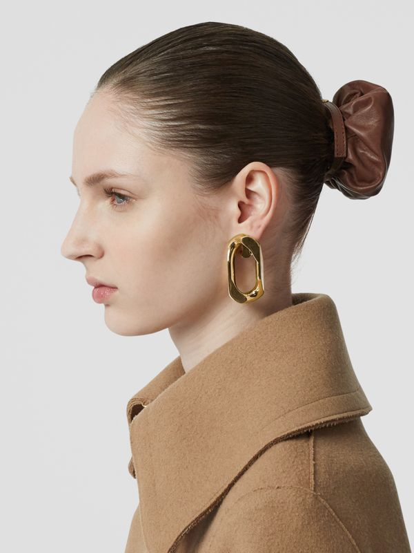 Large Gold-plated Chain Link Earrings in Light - Women | Burberry United Kingdom - cell image 2