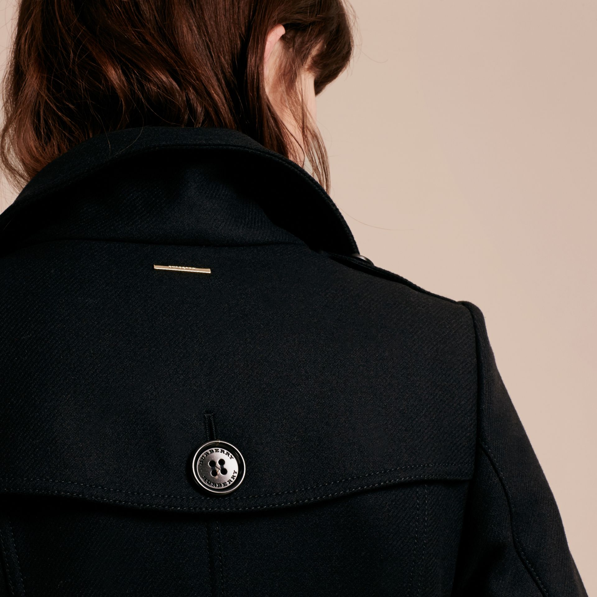 Technical Wool Cashmere Funnel Neck Coat in Black - Women | Burberry Singapore - gallery image 5