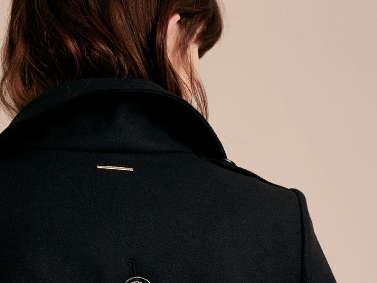 Technical Wool Cashmere Funnel Neck Coat in Black - Women | Burberry Singapore - cell image 4