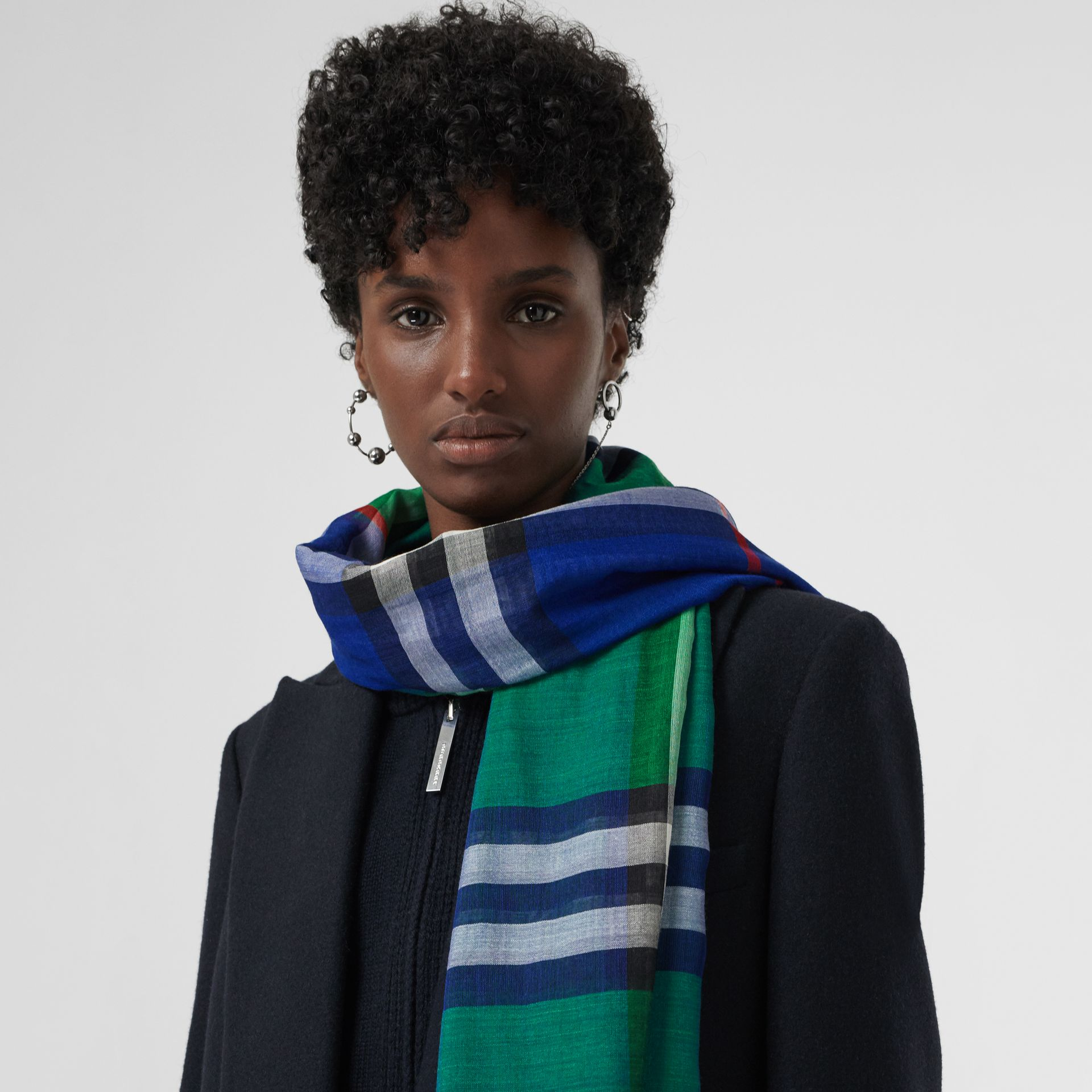 Colour Block Check Wool Silk Scarf in Teal | Burberry United Kingdom - gallery image 5