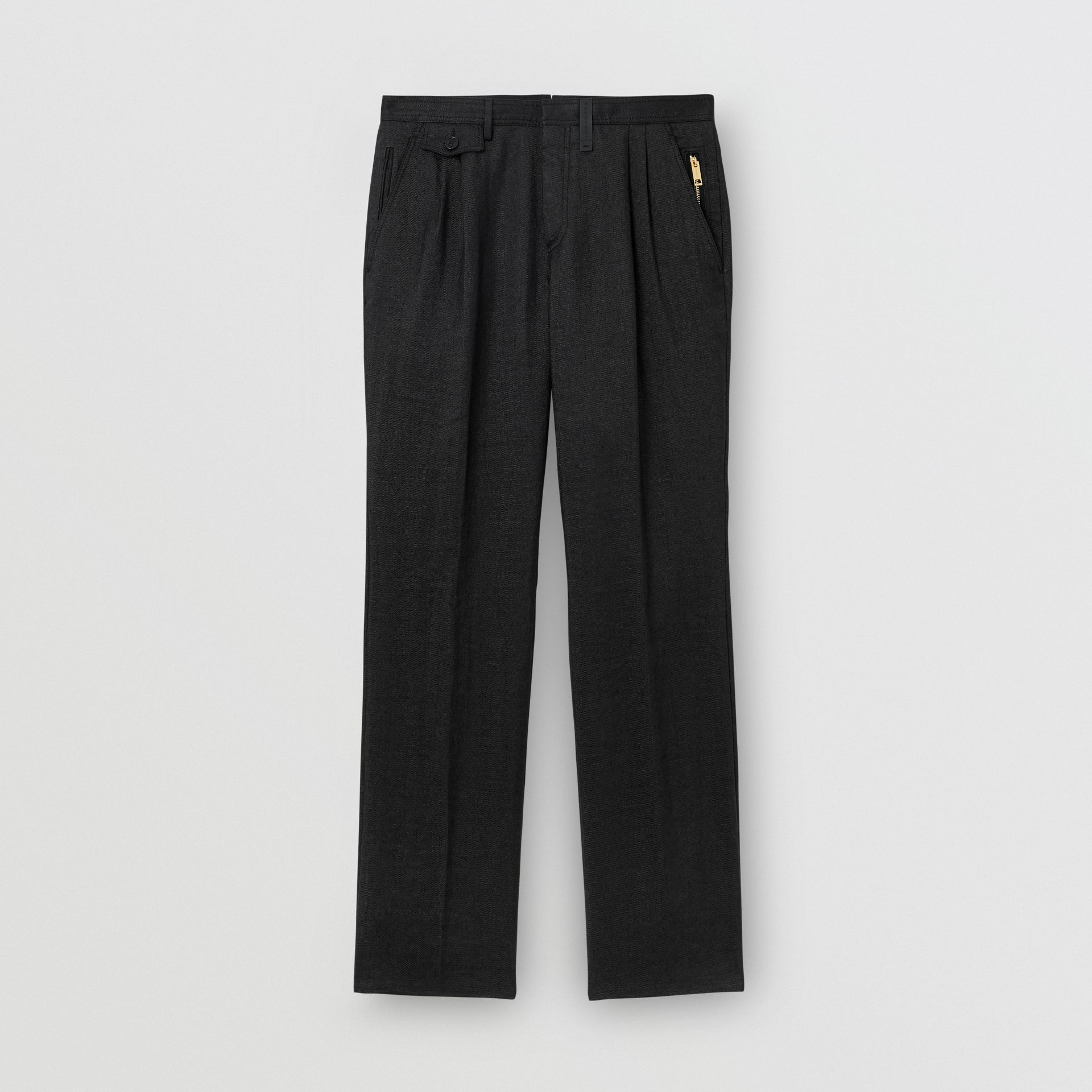 Zip Detail Linen Blend Pleated Trousers in Black - Men | Burberry United Kingdom - gallery image 3