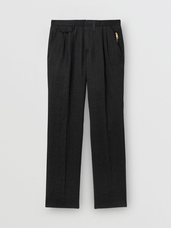 Zip Detail Linen Blend Pleated Trousers in Black