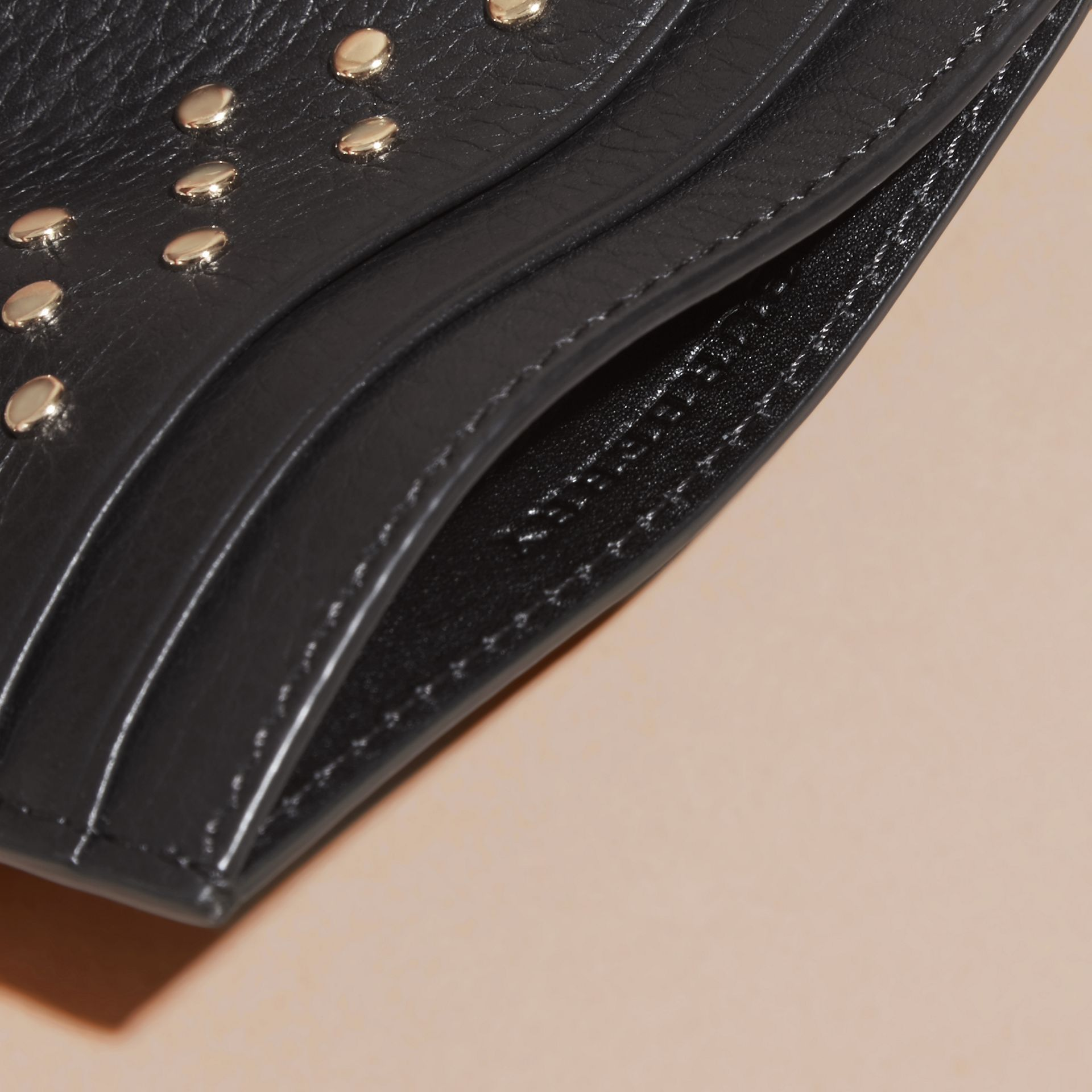 Black Studded Leather Card Case - gallery image 5