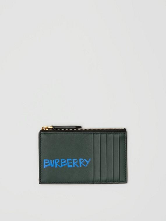 Porte-cartes zippé en cuir à imprimé graffiti (Vert Bouteille Intense)
