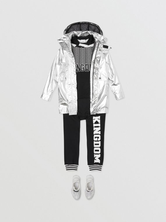 Detachable Hood Metallic Nylon Parka in Silver
