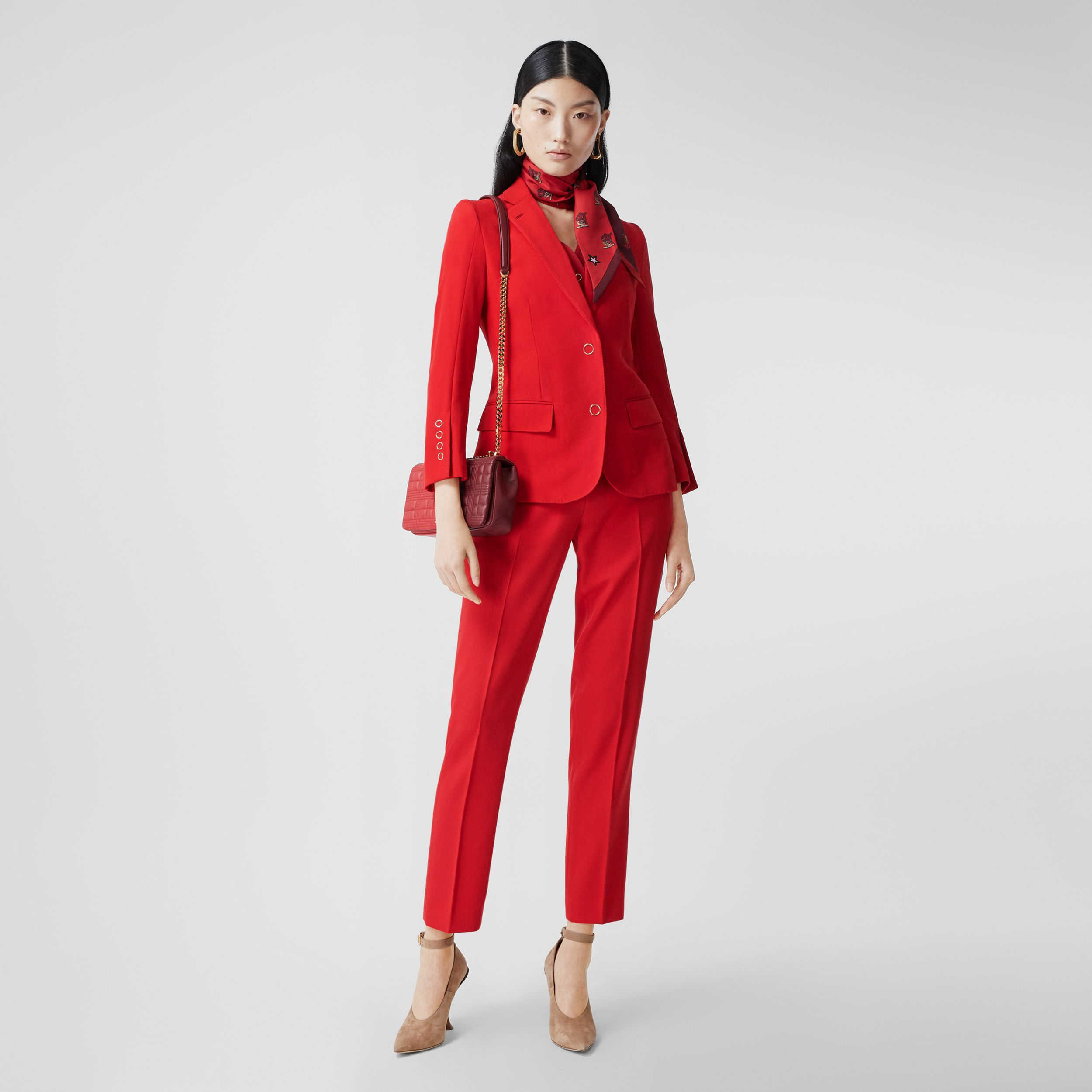 Waistcoat Panel Wool Tailored Jacket in Bright Red - Women | Burberry - 1