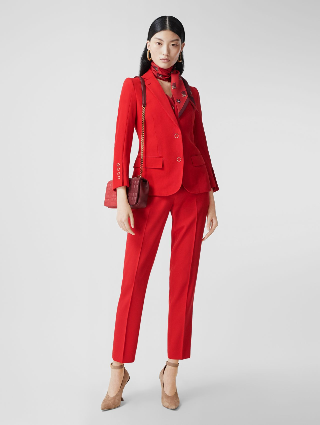 Waistcoat Panel Wool Tailored Jacket in Bright Red