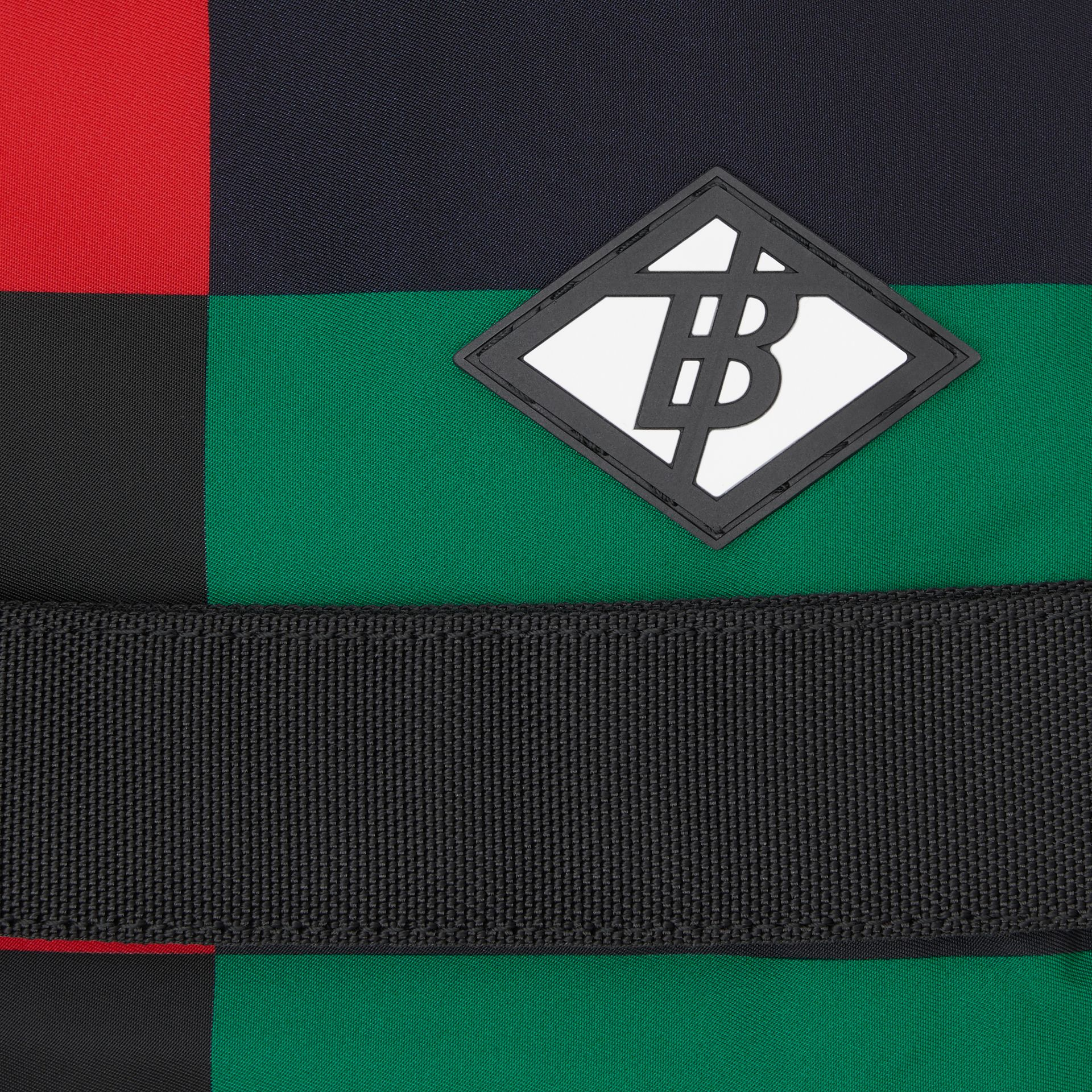 Large Colour Block ECONYL® Nevis Backpack in Military Red/green | Burberry United Kingdom - gallery image 1