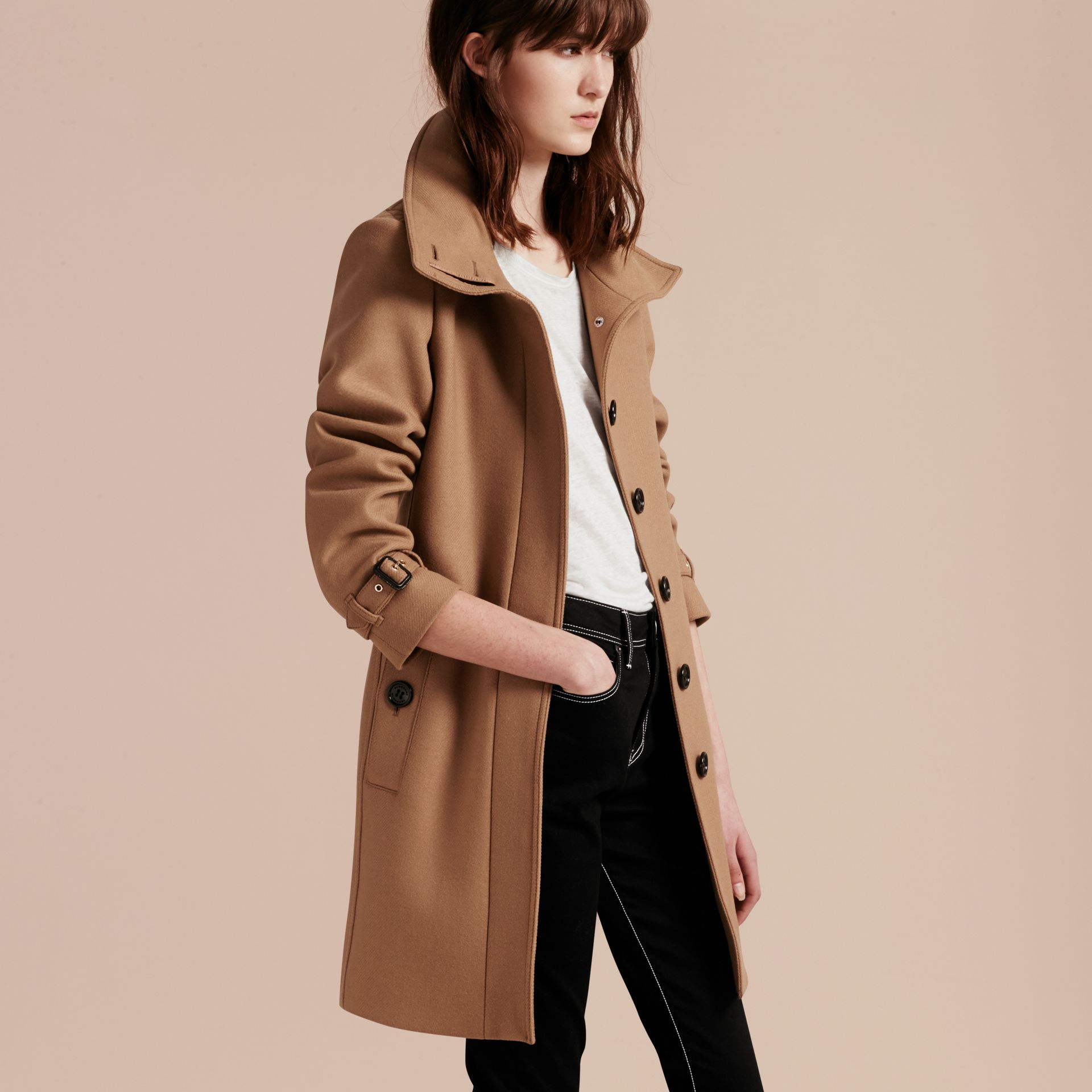 Technical Wool Cashmere Funnel Neck Coat in Camel - gallery image 8