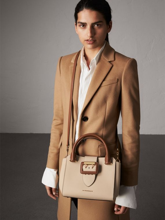 The Small Buckle Tote in Two-tone Leather in Limestone - Women | Burberry Australia - cell image 2