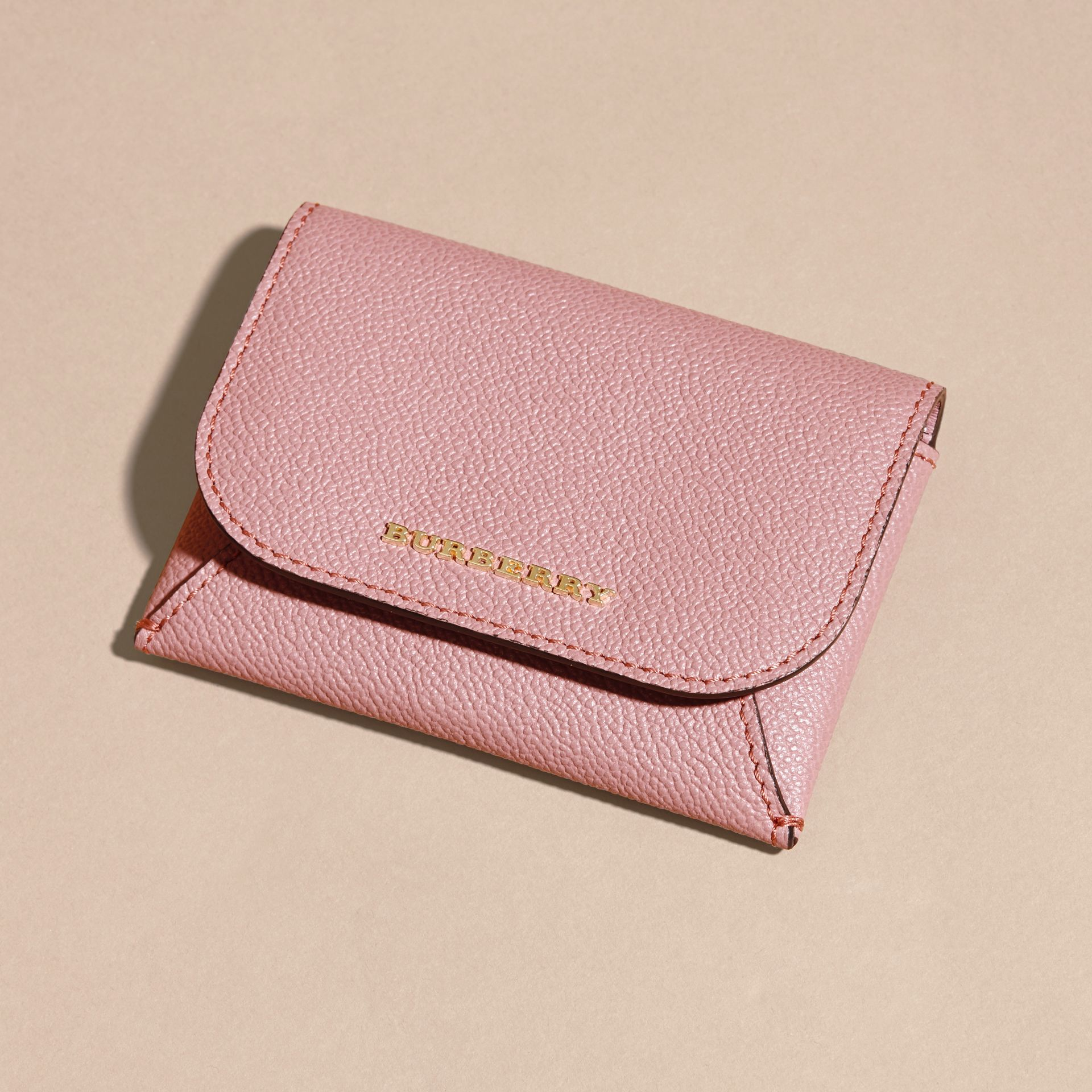 Leather Coin Case with Removable Card Compartment in Dusty Pink - Women | Burberry - gallery image 3