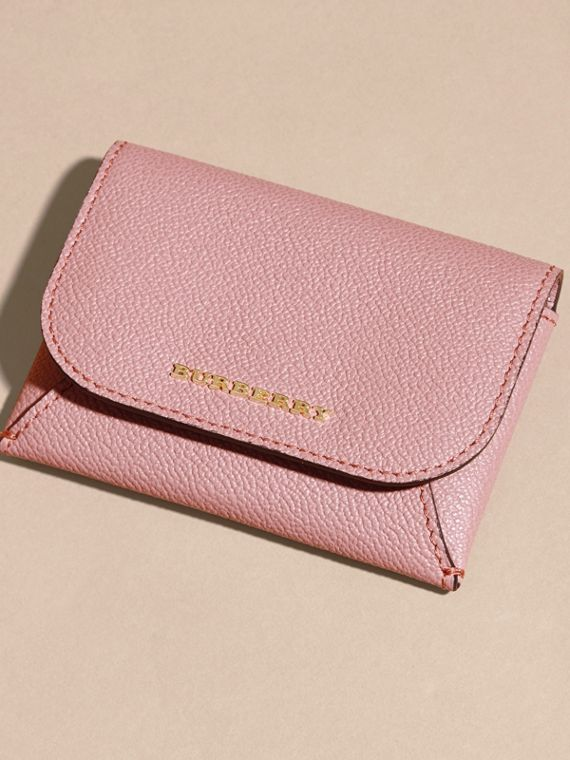 Leather Coin Case with Removable Card Compartment in Dusty Pink - Women | Burberry - cell image 2