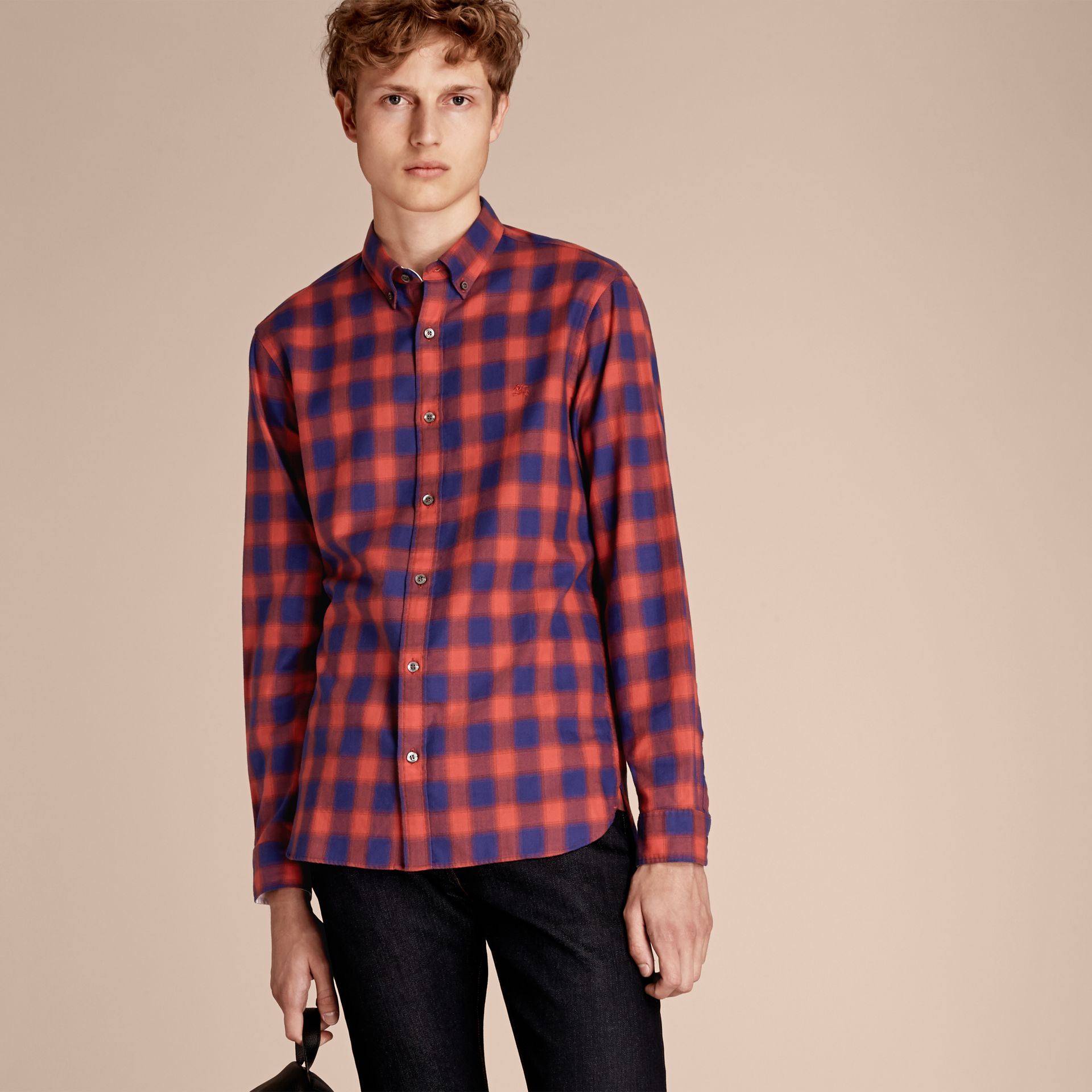 Orange red Gingham Check Cotton Shirt Orange Red - gallery image 6