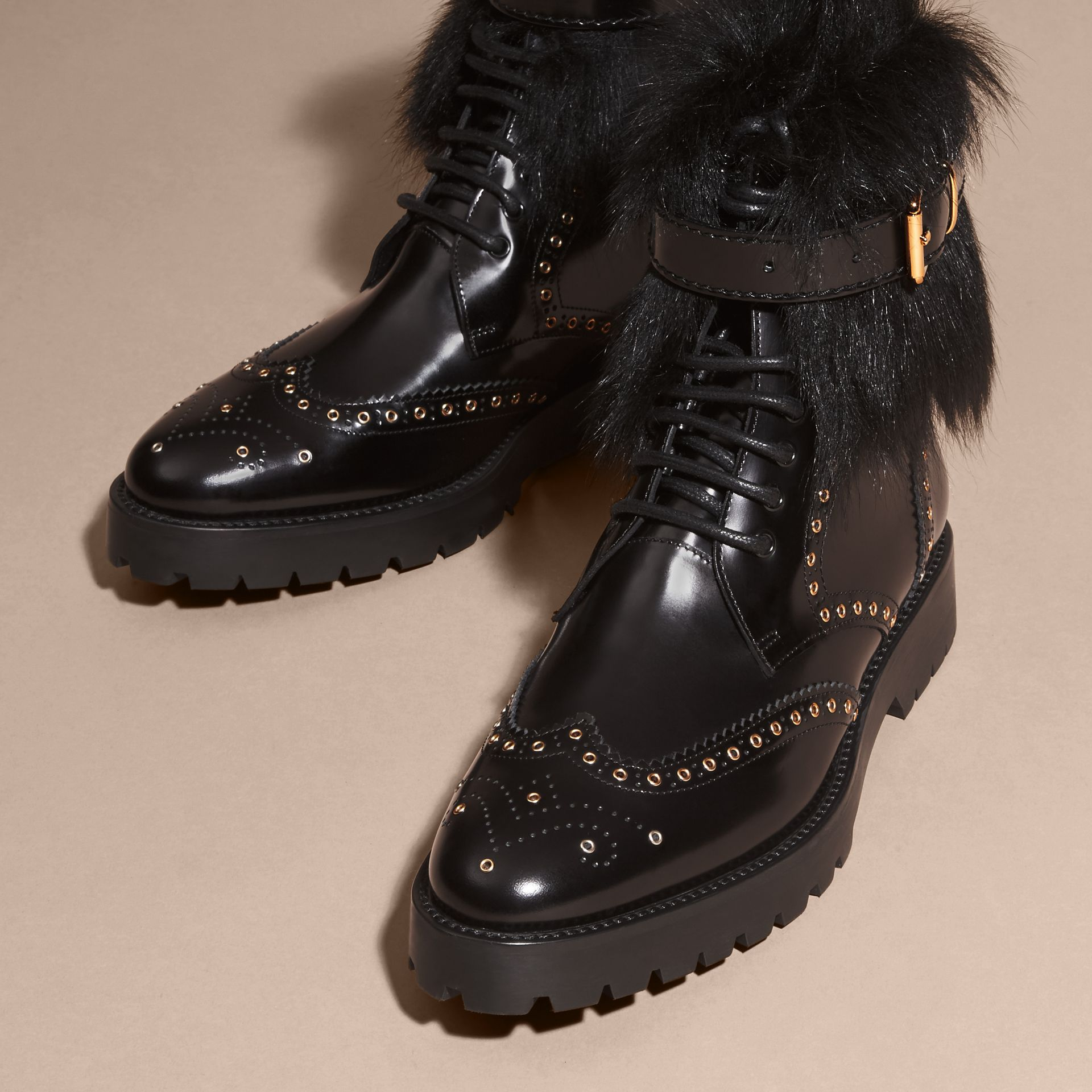 Black Shearling and Leather Wingtip Ankle Boots - gallery image 3