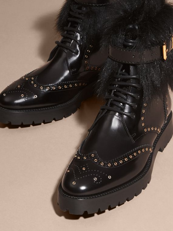 Black Shearling and Leather Wingtip Ankle Boots - cell image 2