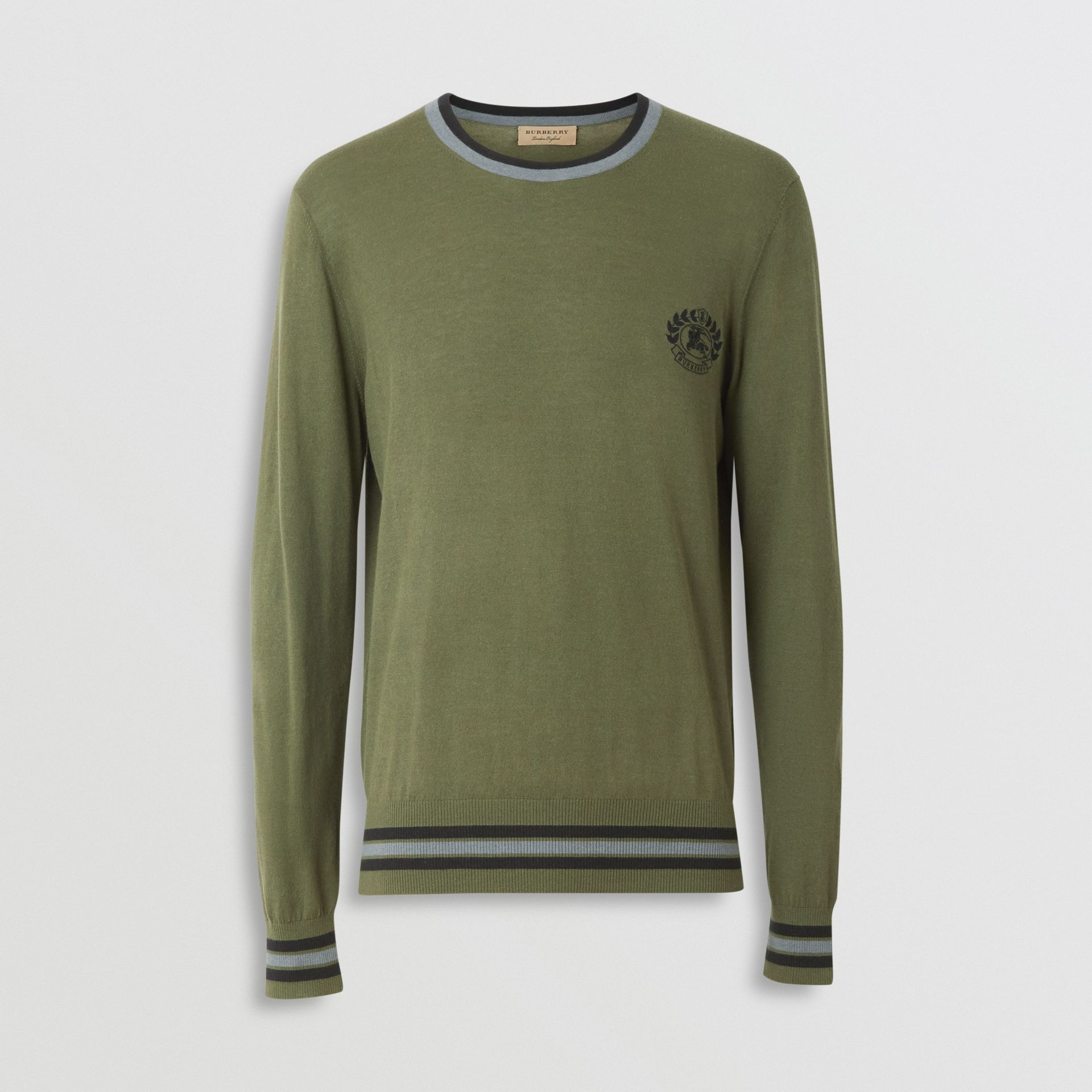 Embroidered Crest Cotton Silk Sweater in Slate Green - Men | Burberry - gallery image 3