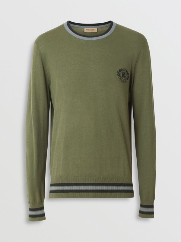 Embroidered Crest Cotton Silk Sweater in Slate Green - Men | Burberry - cell image 3