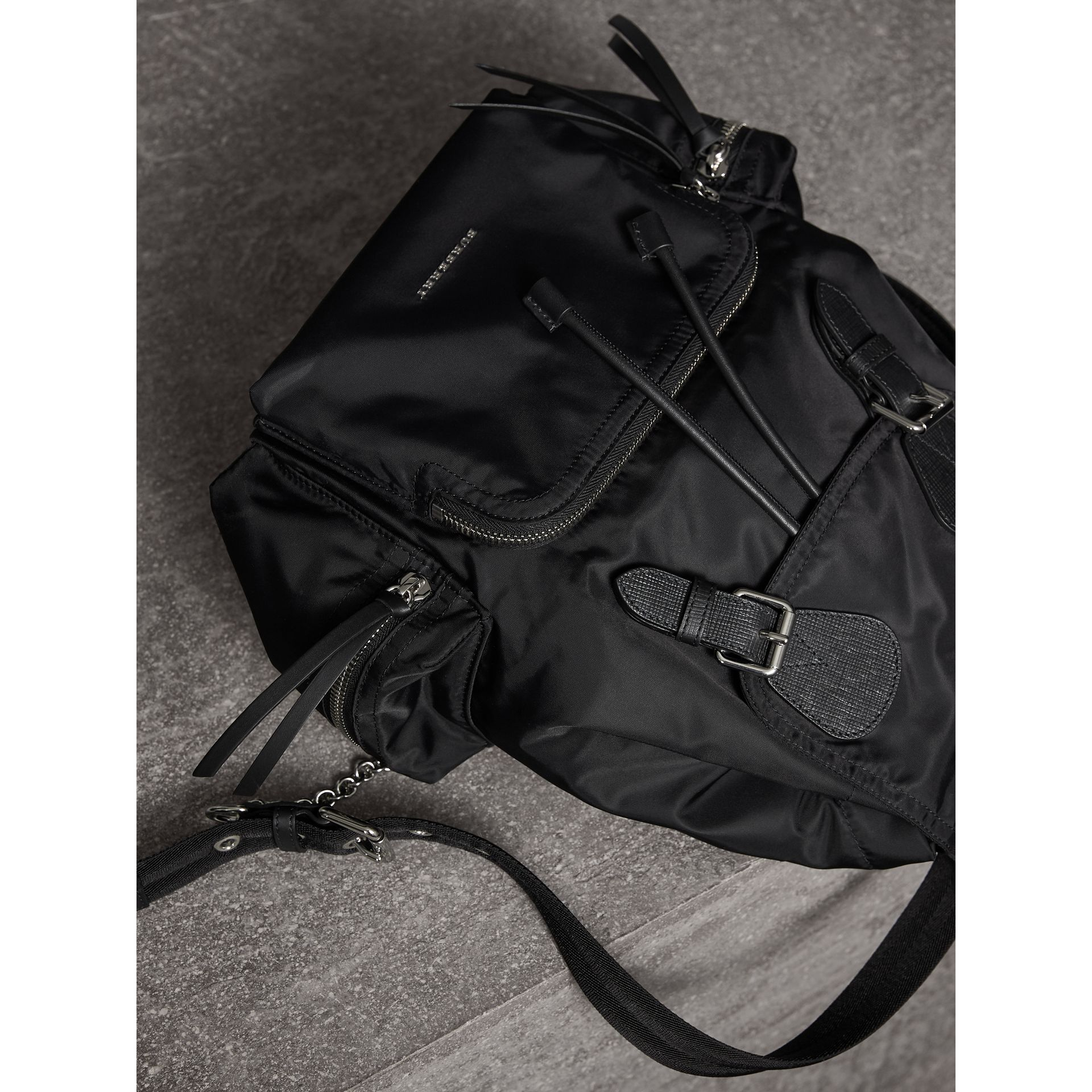 The Medium Rucksack in Technical Nylon and Leather in Black/black - Women | Burberry United Kingdom - gallery image 5