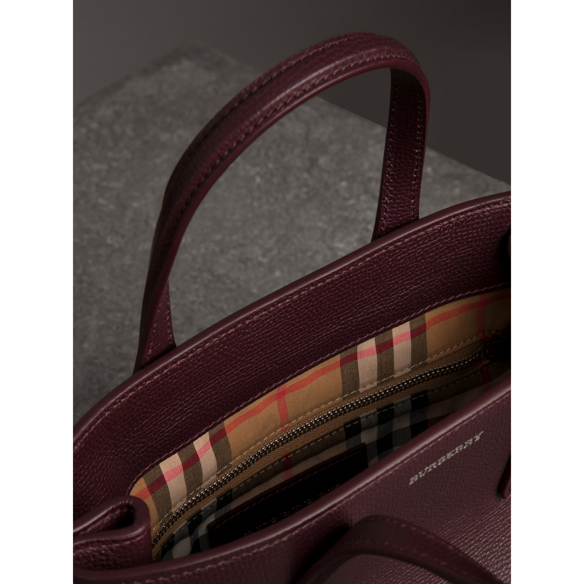 The Small Banner in Leather in Mahogany Red - Women | Burberry - gallery image 5