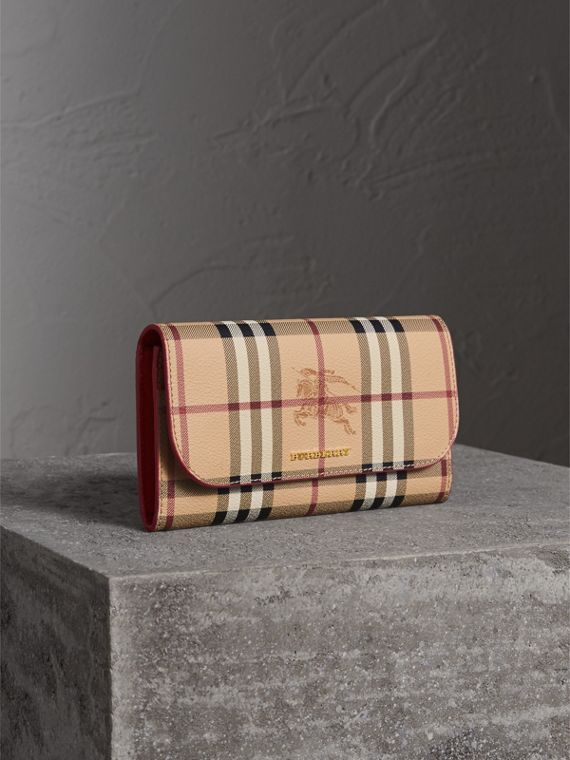 Haymarket Check and Leather Slim Continental Wallet in Coral Red - Women | Burberry Australia
