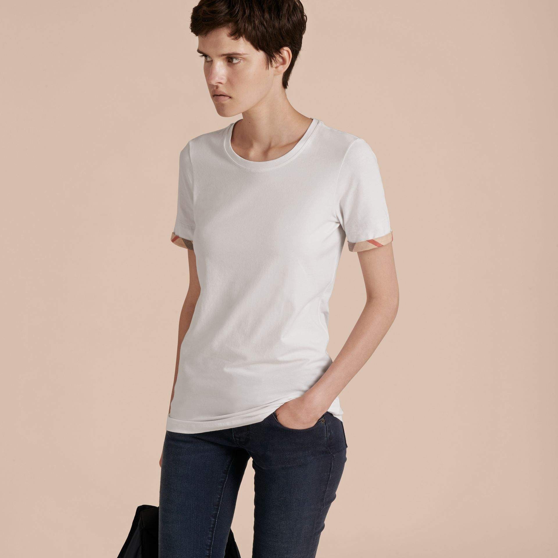 Check Cuff Stretch Cotton T-Shirt in White - Women | Burberry - gallery image 10