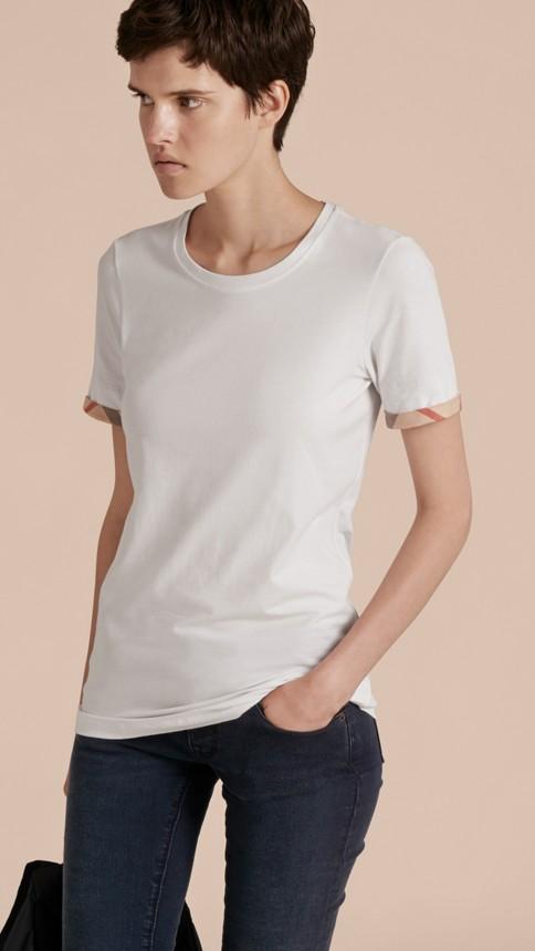 White Check Cuff Stretch Cotton T-Shirt White - Image 6