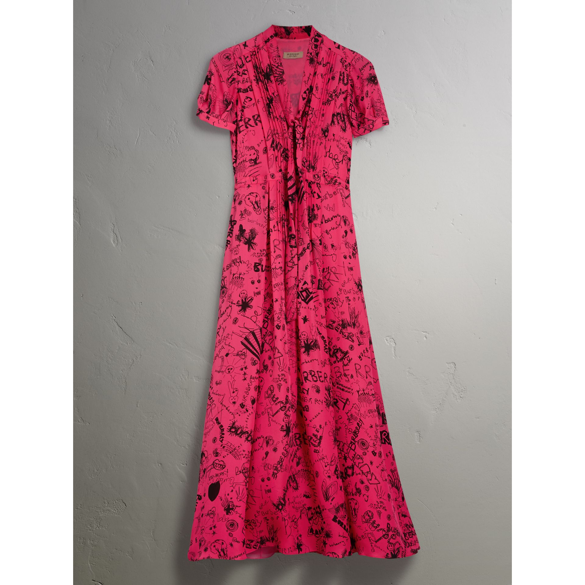 Doodle Print Silk Tie-neck Dress in Fluro Pink - Women | Burberry - gallery image 3