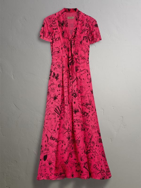 Doodle Print Silk Tie-neck Dress in Fluro Pink - Women | Burberry - cell image 3