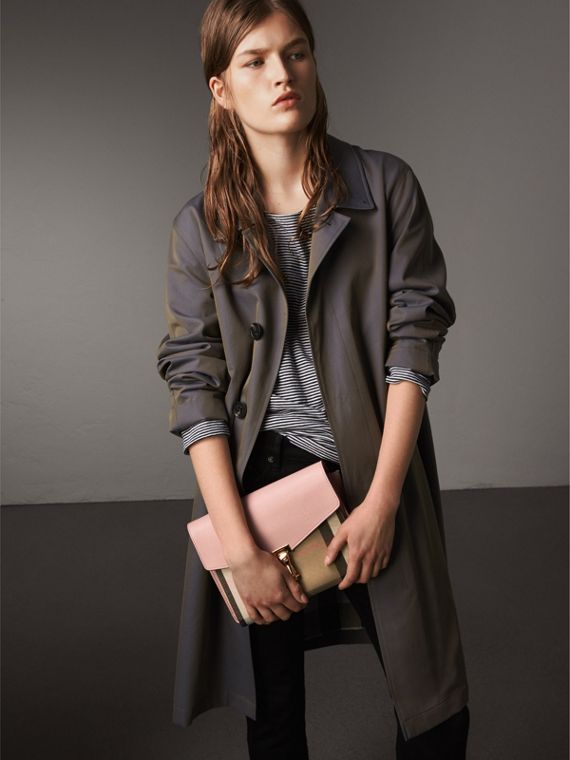 Small Leather and House Check Crossbody Bag in Pale Orchid - Women | Burberry Singapore - cell image 3