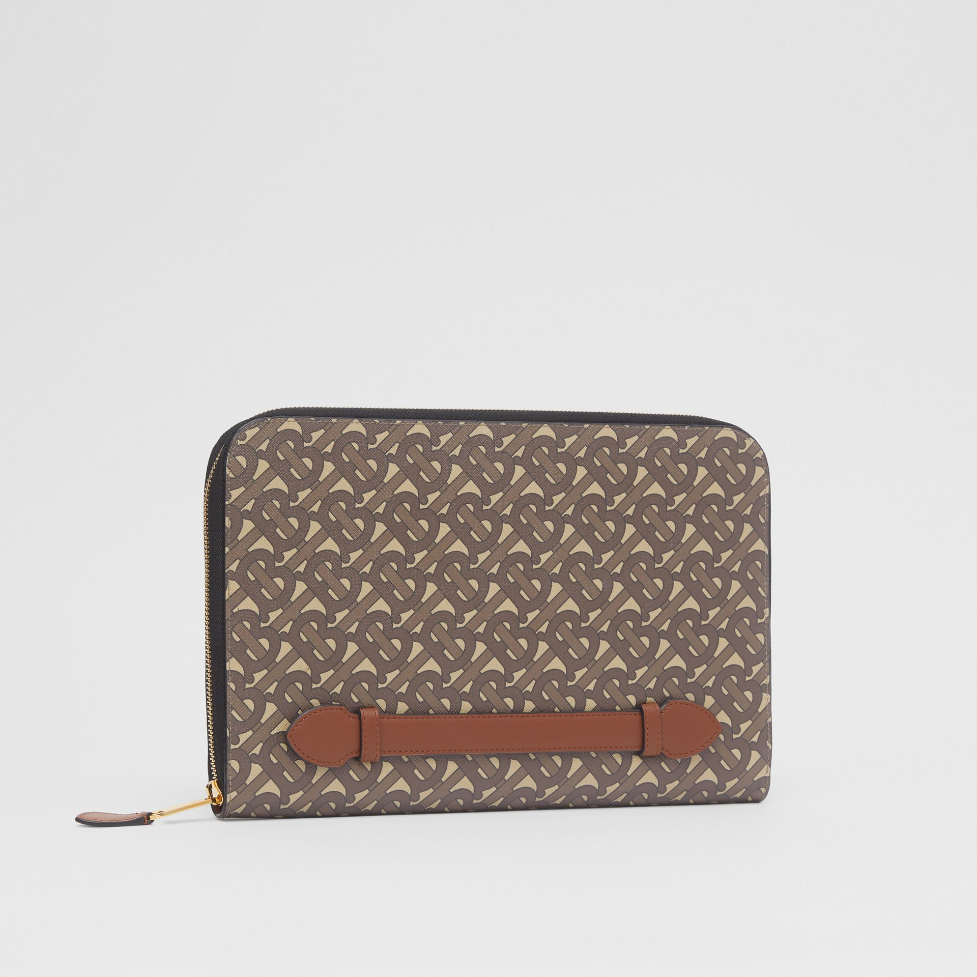 Monogram Print E-canvas and Leather Ziparound Pouch in Bridle Brown | Burberry Hong Kong S.A.R - gallery image 7