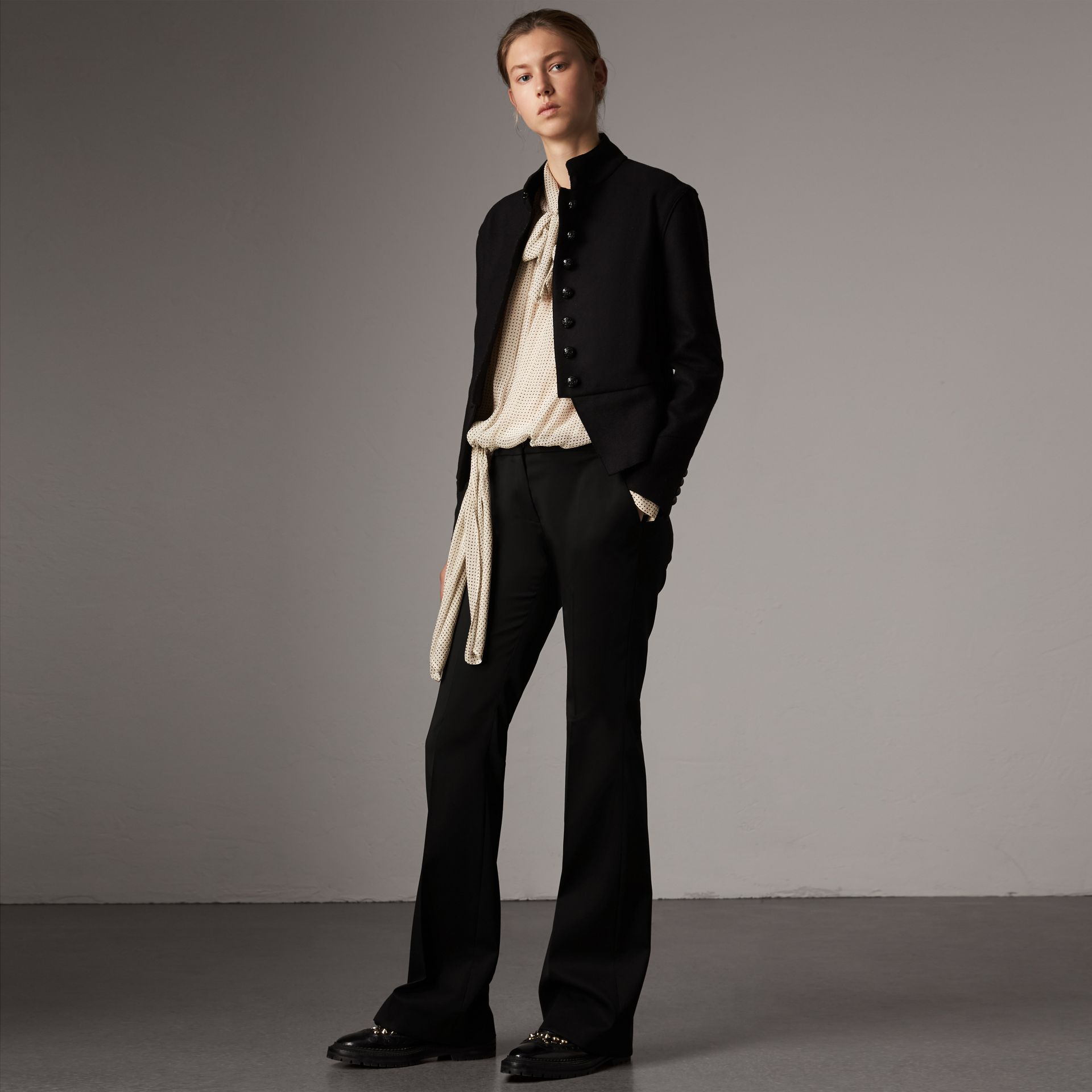 Wide-leg Wool Tailored Trousers in Black - Women | Burberry - gallery image 0
