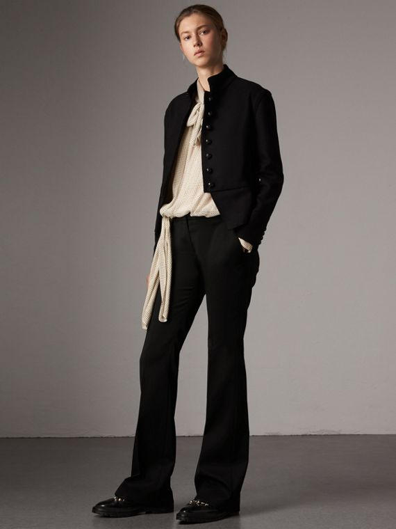 Wide-leg Wool Tailored Trousers in Black