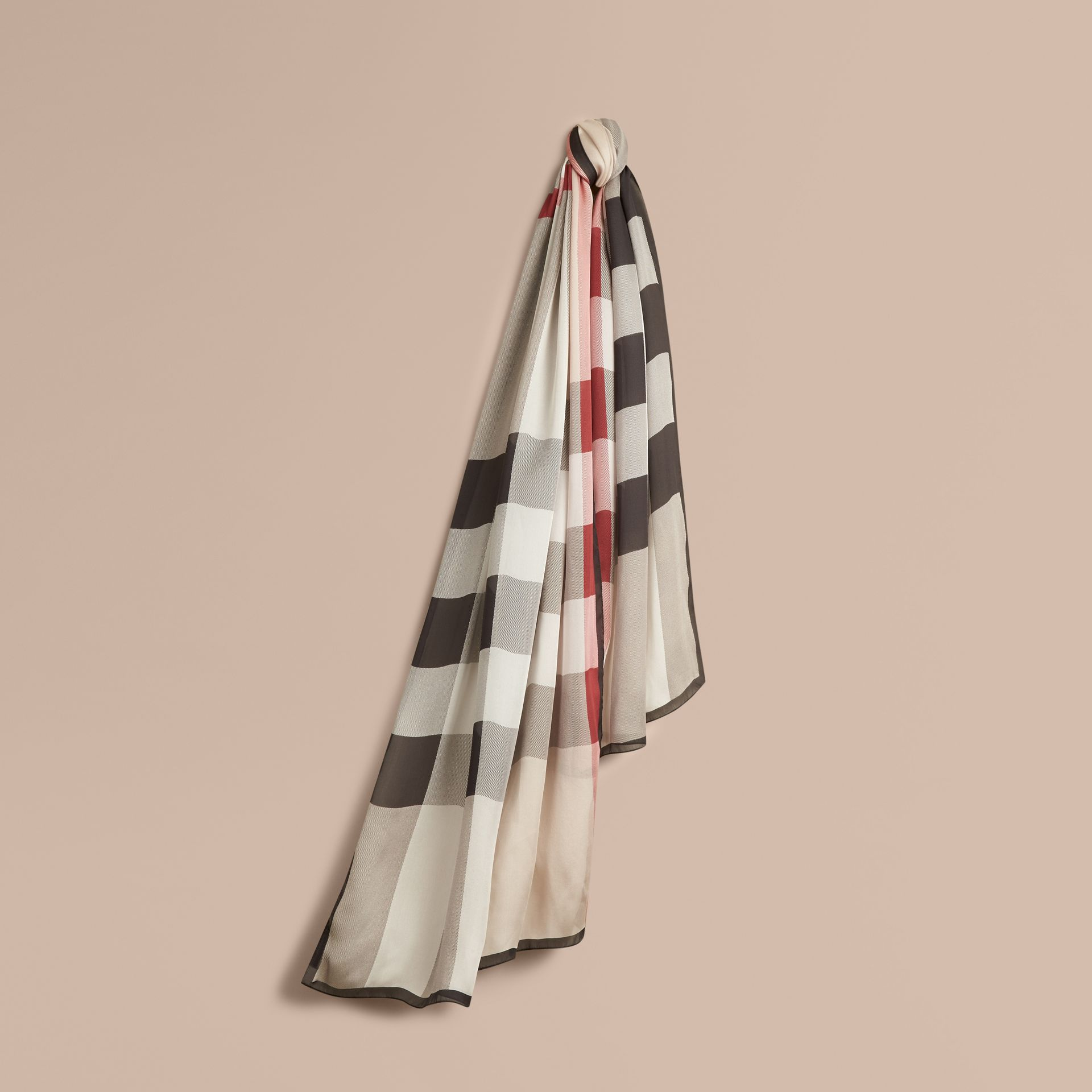Lightweight Check Silk Scarf in Stone - gallery image 1