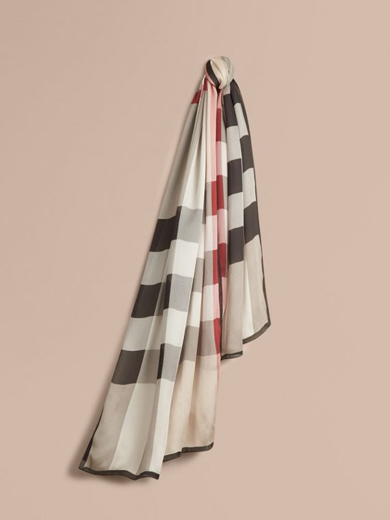 Lightweight Check Silk Scarf Stone