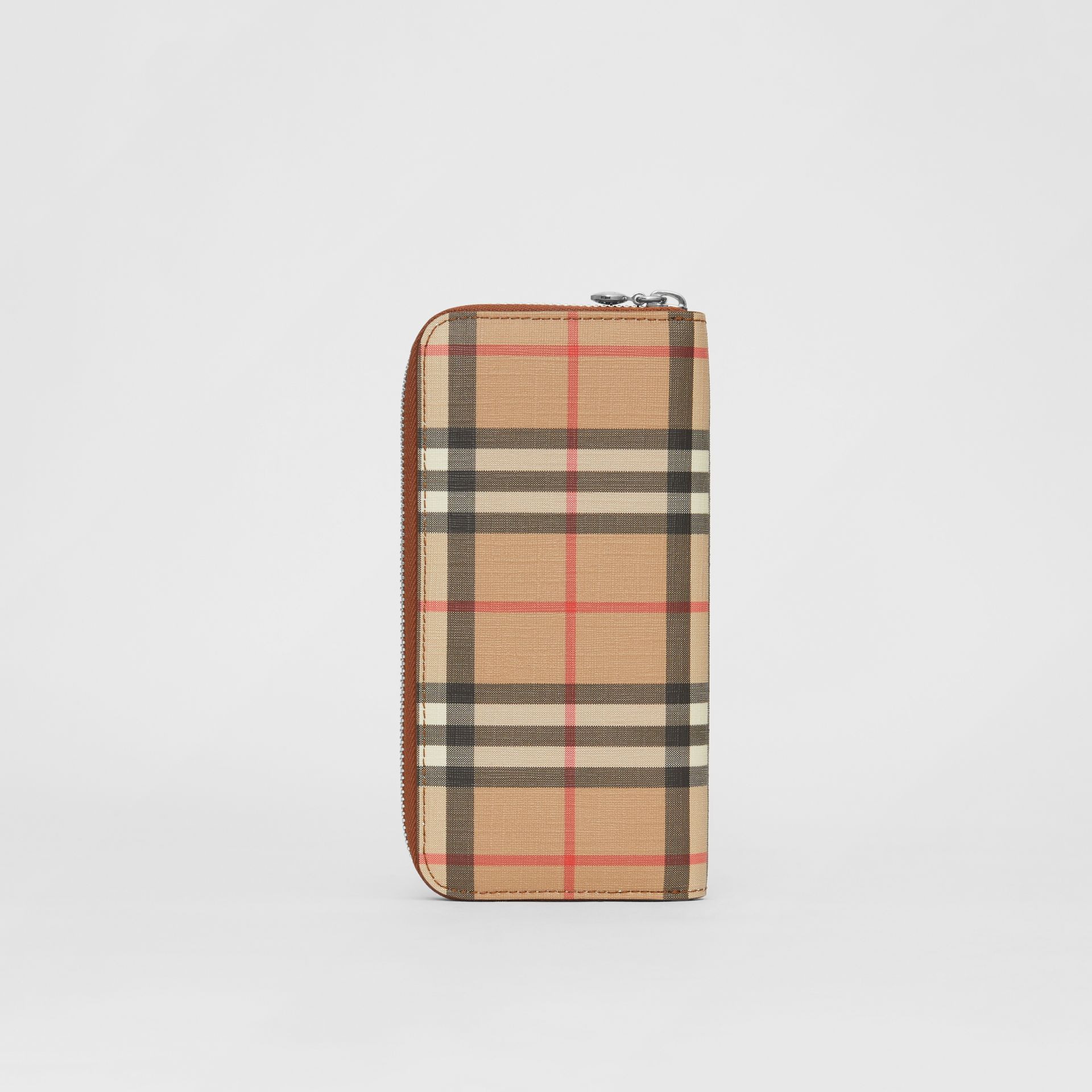 Vintage Check and Leather Ziparound Wallet in Malt Brown - Women | Burberry United Kingdom - gallery image 4