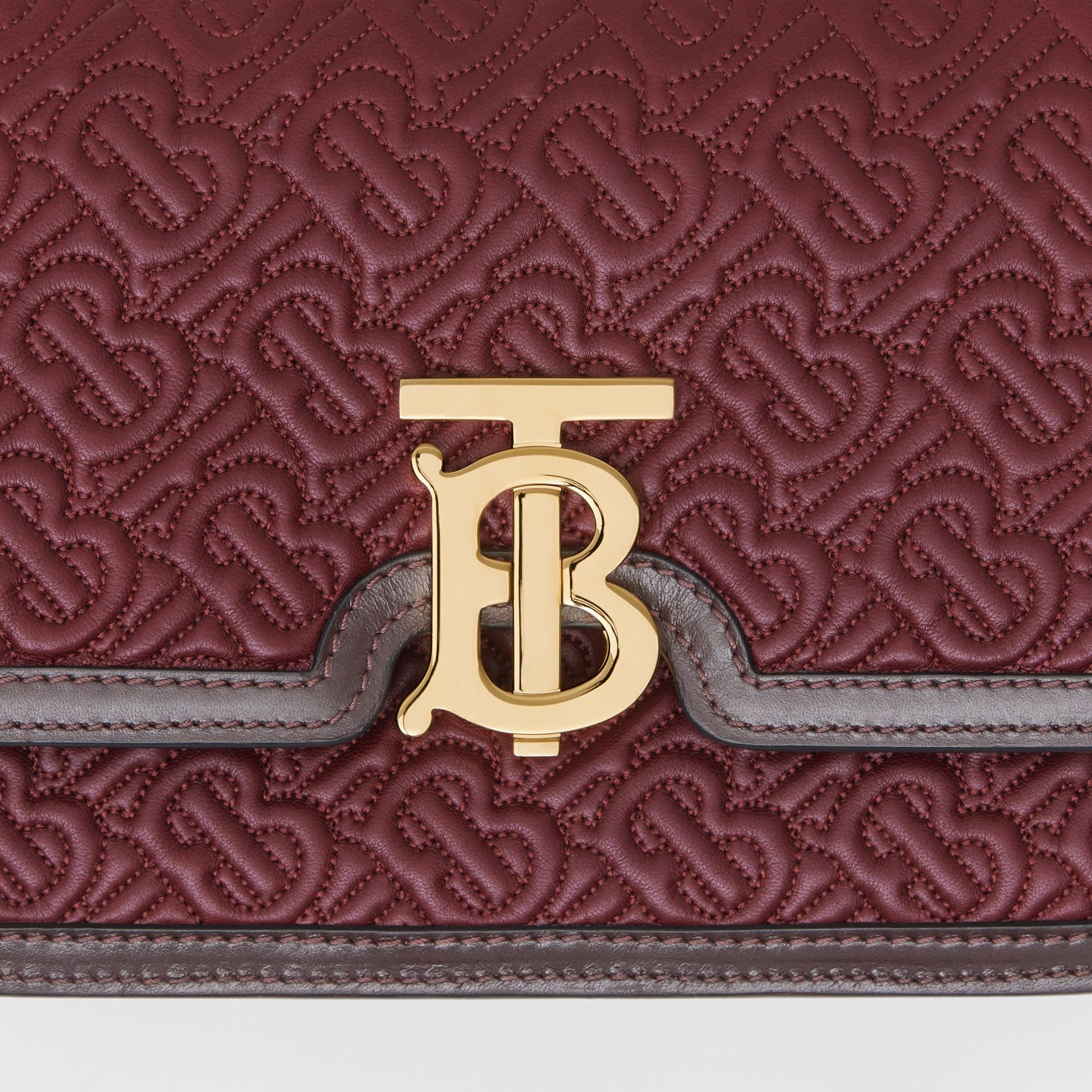 Small Quilted Monogram Lambskin TB Bag in Dark Burgundy - Women | Burberry - gallery image 1