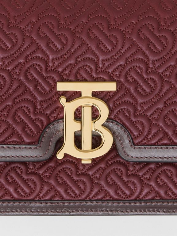 Small Quilted Monogram Lambskin TB Bag in Dark Burgundy - Women | Burberry - cell image 1