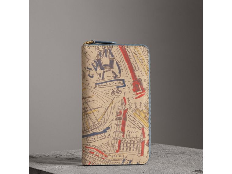 London Print Leather Ziparound Wallet in Multicolour - Men | Burberry United Kingdom - cell image 4